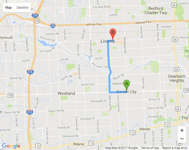 Directions From Garden City Michigan To Livonia Chrysler Jeep