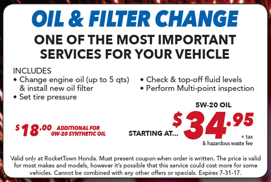 Best Oil Change Coupon Near Me? RocketTown Honda In Lompoc, CA