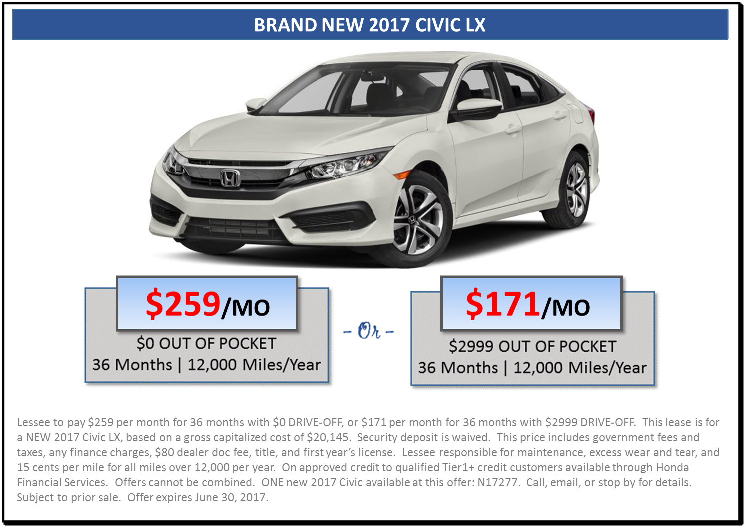 Nice Zero Down Payment Lease   2017 Civic LX. Website ...