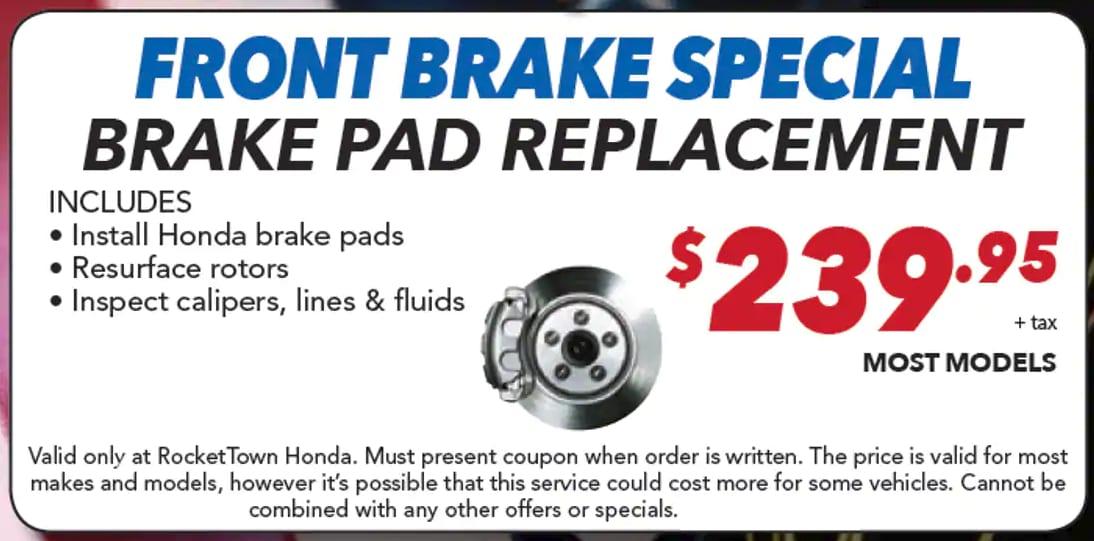 Brake Pads And Rotors Prices >> Honda Repairs Near San Luis Obispo Ca Honda Brake Service
