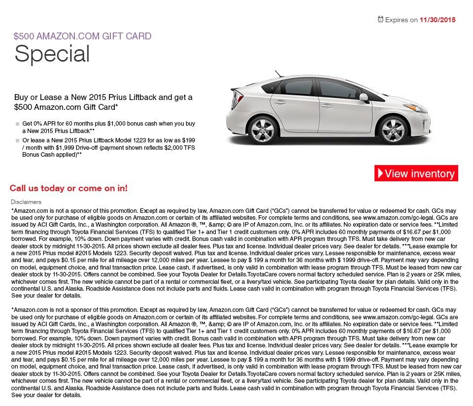 New Prius Lease Specials In El Monte Longo Toyota