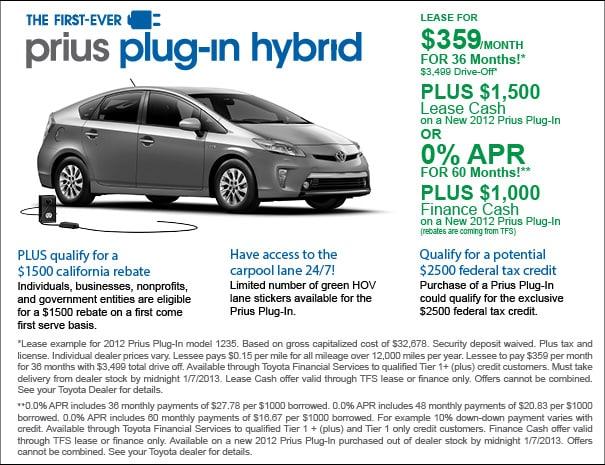 Toyota Prius PlugIn Hybrid Specials El Monte Los Angeles CA - Toyota prius lease deals los angeles