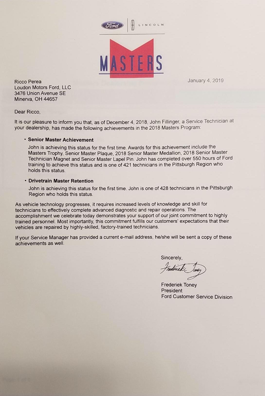 Congratulations to John Fillinger!   Loudon Motors Ford LLC