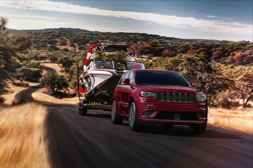 2019 Jeep Grand Cherokee pulling a boat in Kingston, New York