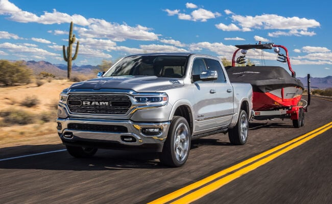 New 2019 RAM 1500 towing boat