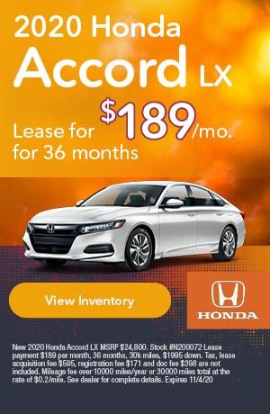 October | 2020 Honda Accord | Lease