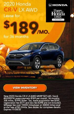 November   2020 Honda CR-V   Lease