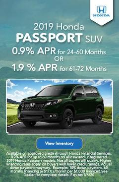 June   2019 Honda Passport SUV   Finance