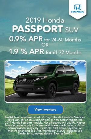 June | 2019 Honda Passport SUV | Finance