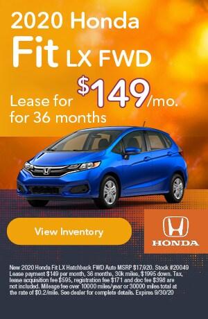 September | 2020 Honda Fit LX FWD | Lease