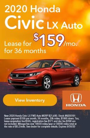 September | 2020 Honda Civic LX Auto | Lease
