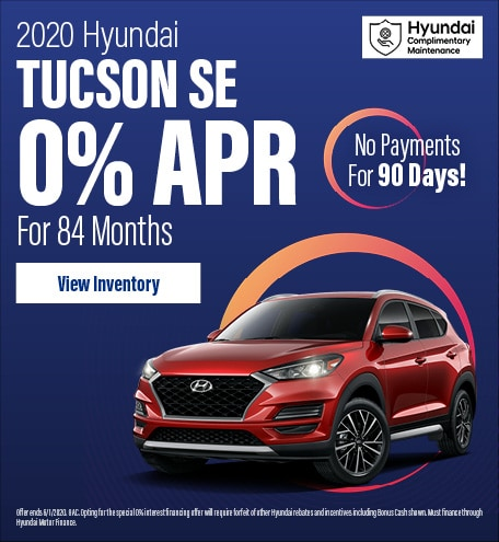 Financing Offer : 0.0% APR for 84 months on select Hyundai Tucson models