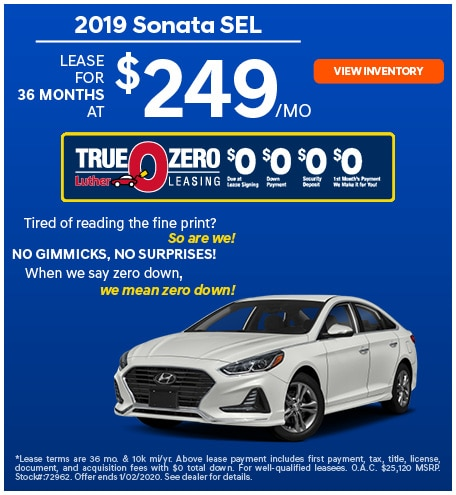2019 Sonata SEL December Offer
