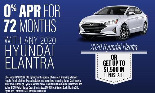 Financing Offer : 0.0% APR for 72 months on select Hyundai Elantra models