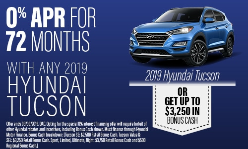 Financing Offer : 0.0% APR for 72 months on select Hyundai Tucson models