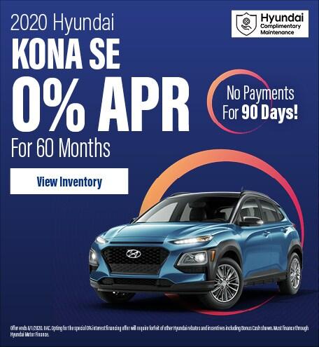 Financing Offer : 0.0% APR for 60 months on select Hyundai Kona models