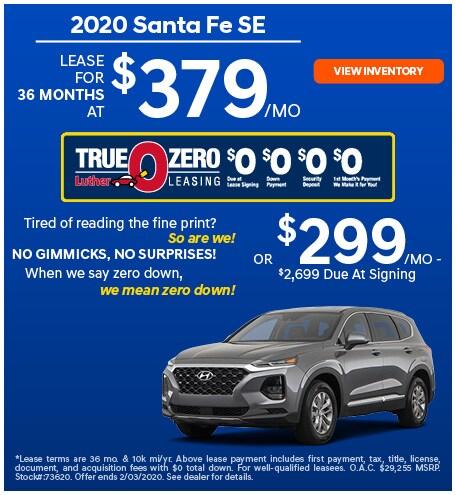 January 2020 Hyundai Santa Fe Lease