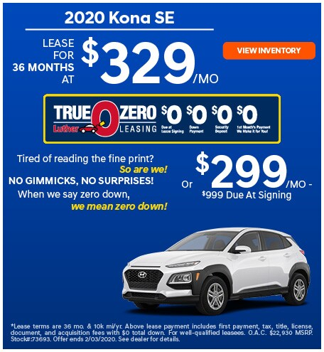 January 2020 Hyundai Kona Lease