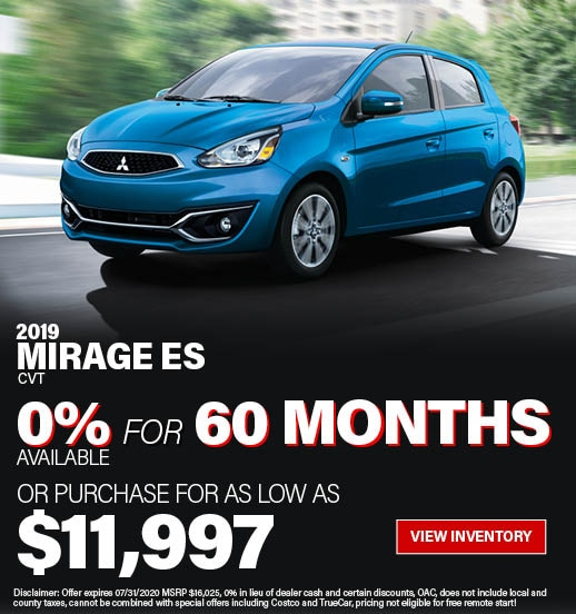 Purchase a 2019 Mirage ES CVT for only $16,025