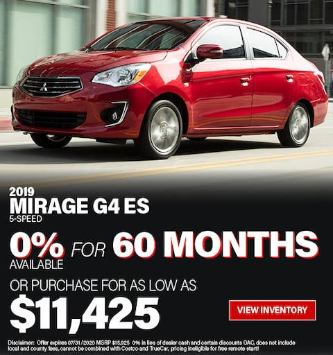 Purchase a 2019 Mirage G4 ES 5-Speed for only $11,425