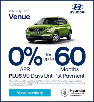 Financing Offer : 0.0% APR for 60 months on select Hyundai Venue models