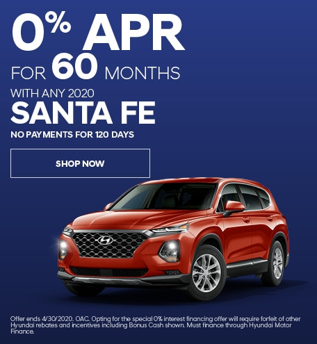 Financing Offer : 0.0% APR for 60 months on select Hyundai Santa Fe models