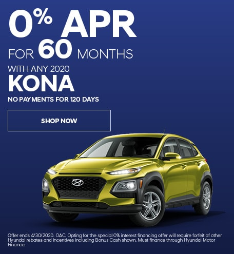 Financing Offer : 0.0% APR for 60 months on select Hyundai Kona models