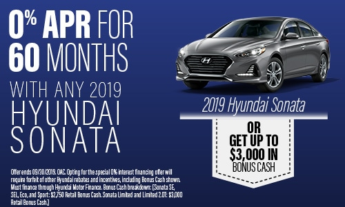 Financing Offer : 0.0% APR for 60 months on select Hyundai Sonata models