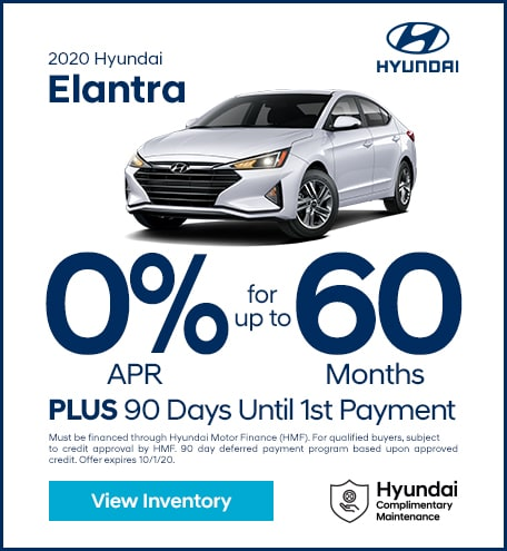 Financing Offer : 0.0% APR for 60 months on select Hyundai Elantra models