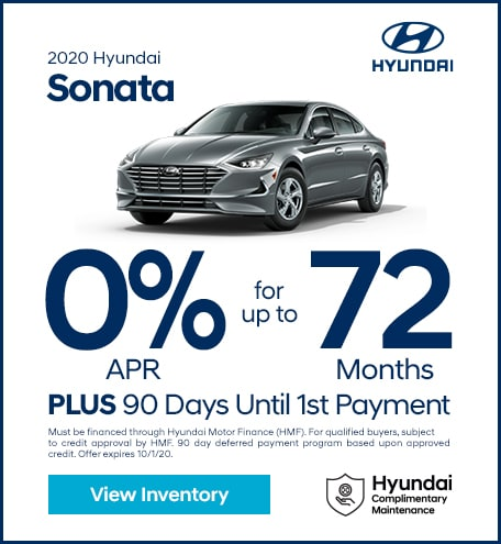 Financing Offer : 0.0% APR for 72 months on select Hyundai Sonata models