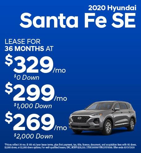 February 2020 Hyundai Santa Fe SE