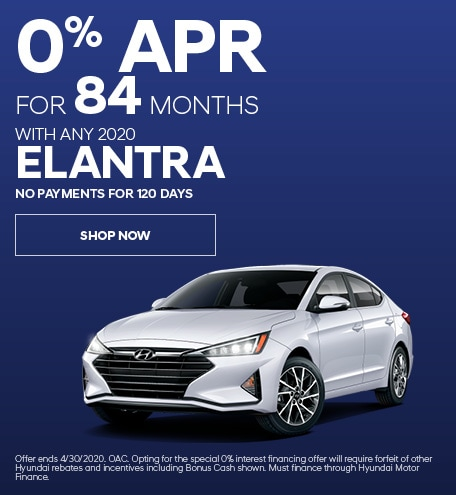 Financing Offer : 0.0% APR for 84 months on select Hyundai Elantra models