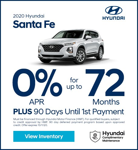 Financing Offer : 0.0% APR for 72 months on select Hyundai Santa Fe models