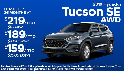 2019 Tucson SE Lease Offer