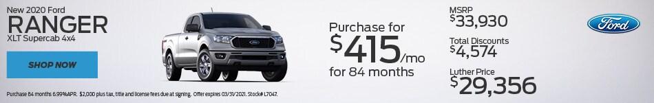 New 2020 Ford Ranger XLT Supercab 4x4