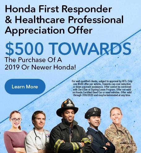 Honda First Responder & Healthcare Professional Appreciation Offer