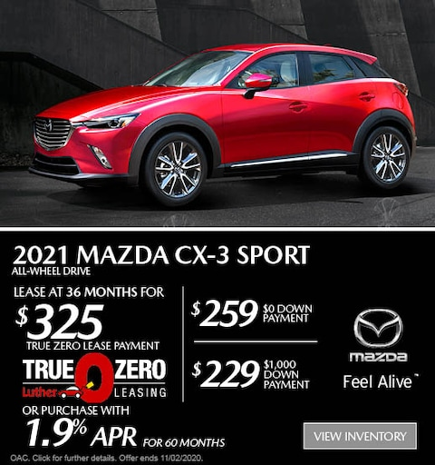 October 2021 Mazda CX-3 AWD Sport Lease