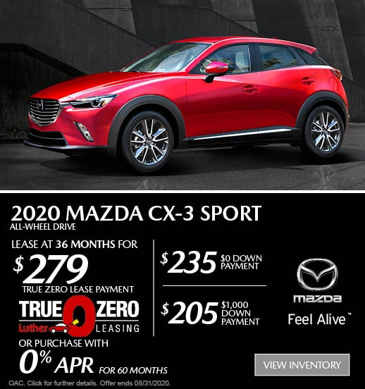August 2020 Mazda CX-3 AWD Sport Lease