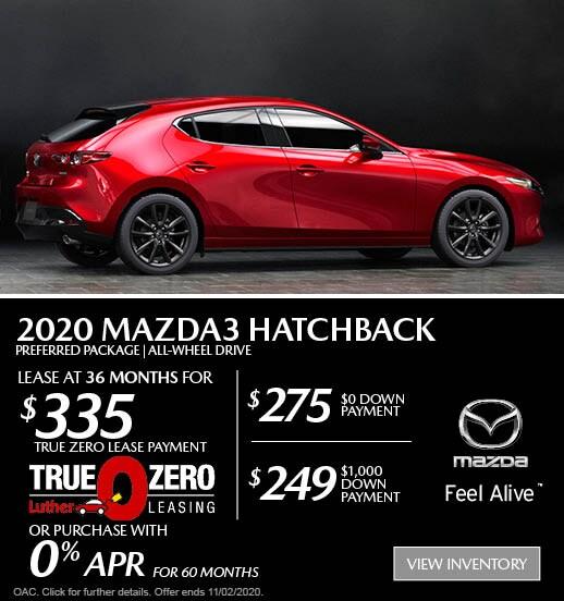 October 2020 Mazda3 Preferred Package Hatchback AWD Lease