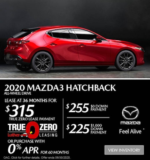 June 2020 Mazda3 Hatchback AWD Lease