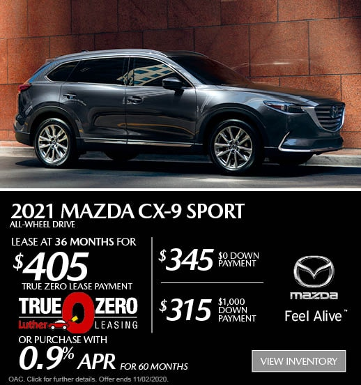 October 2021 Mazda CX-9 Sport AWD Lease