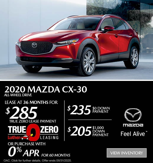 August 2020 Mazda CX-30 AWD Lease
