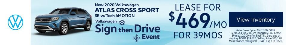 New 2020 Volkswagen Atlas Cross Sport SE w/Tech 4MOTION