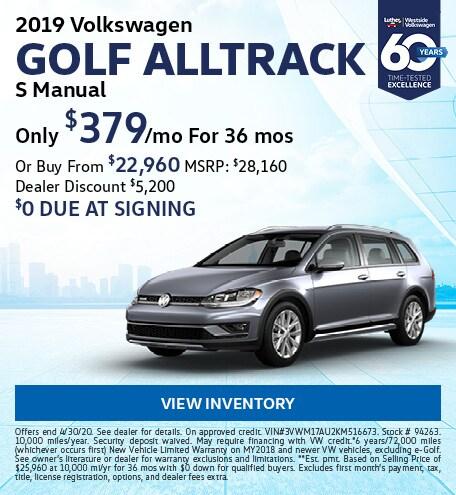 April 2019 Volkswagen Golf Alltrack Lease