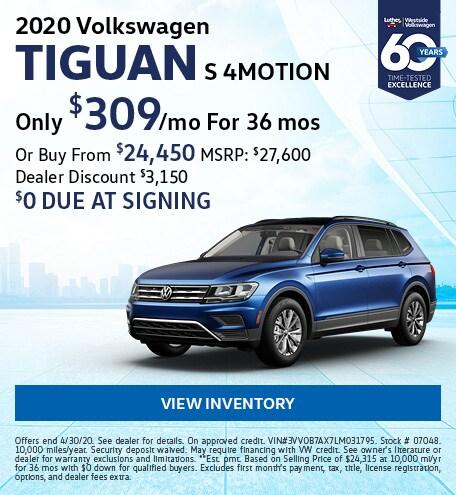 April 2020 Volkswagen Tiguan Lease