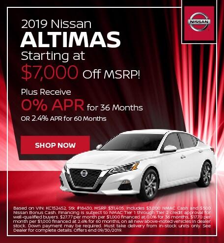 2019 Nissan Altimas Starting at $7,000 Off MSRP - Sept '19