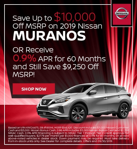 Save Over $10,000 Off MSRP on 2019 Muranos - Sept '19