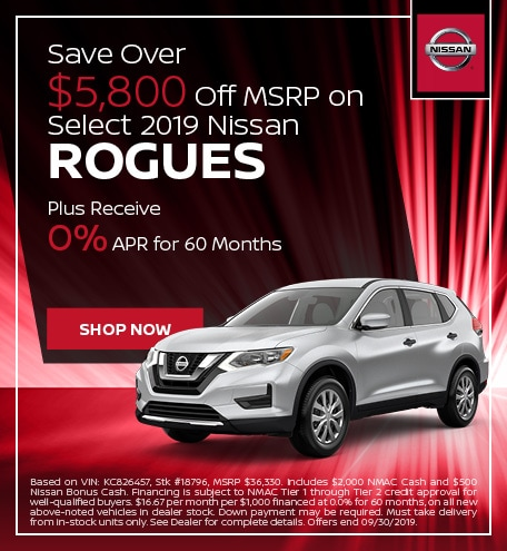 Save Over $5,800 Off MSRP on select 2019 Rogues - Sept '19