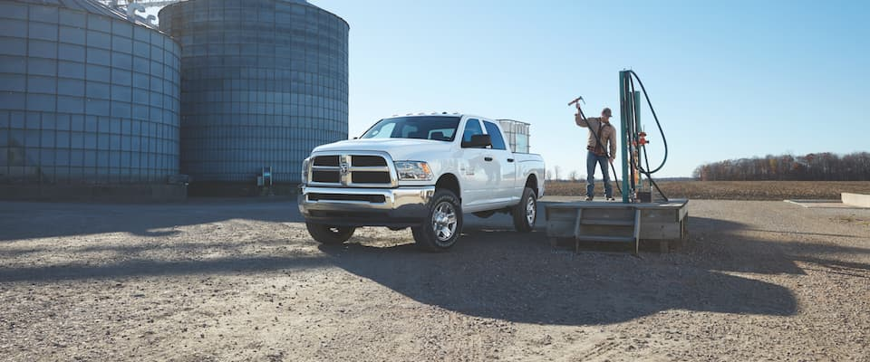 A white 2018 Ram 2500 parked on a job site