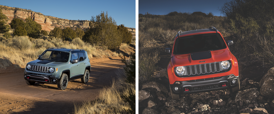 A green Jeep Renegade driving through the desert and an orange Jeep Renegade Offroading